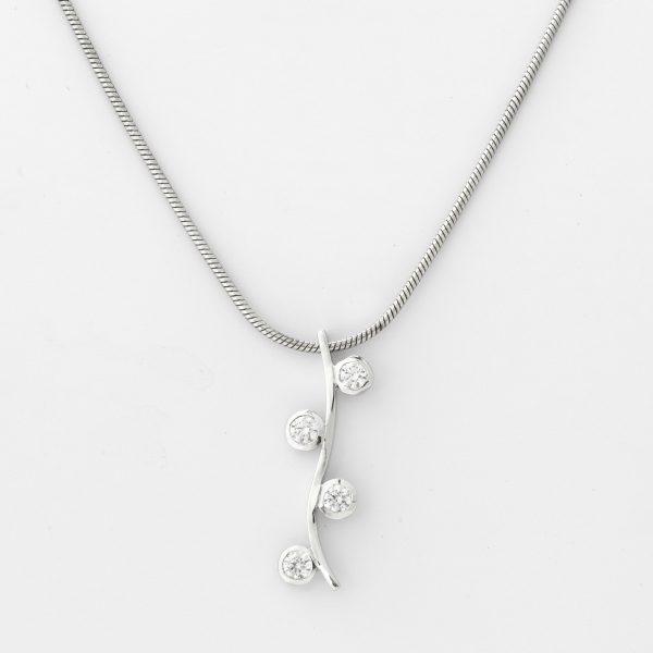 Halsketting Grandola 18kt goud - 4 diamanten door Jo Juwelen