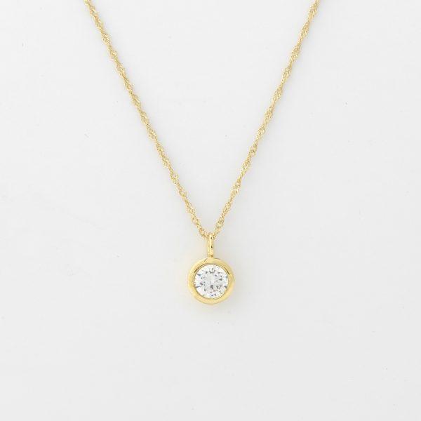 Halsketting Ferrara 18kt goud - 1 diamant door Jo Juwelen